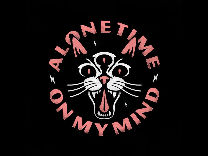 Alone time on my mind logo design lockup alone time cat texture photoshop lettering logo typography badgedesign branding vector illustrator illustration graphic design