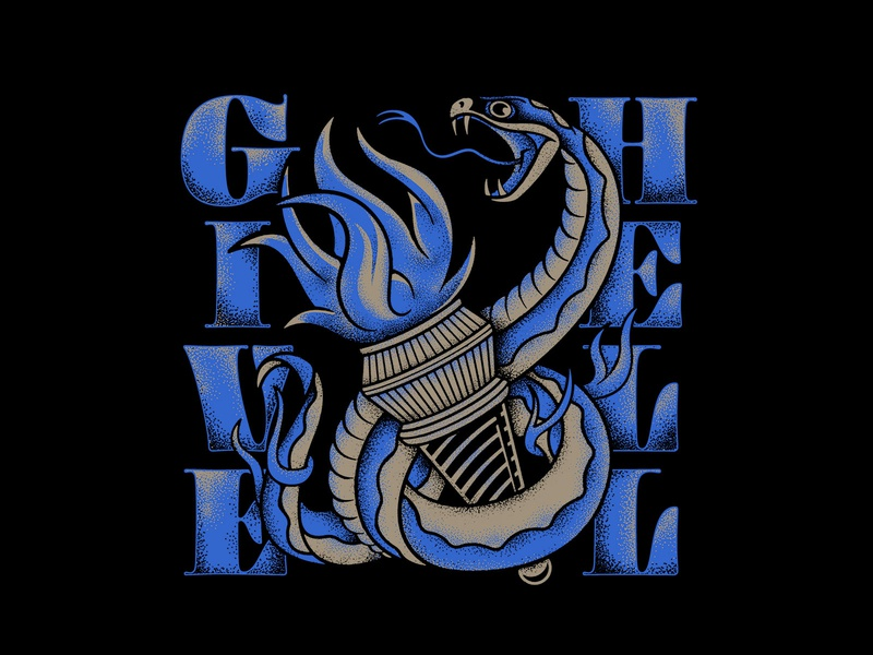 Give Hell texture torch snake merch design lettering photoshop typography badgedesign branding vector illustrator illustration graphic design