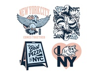 I ❤️NYC procreate pizza pigeon rat new york nyc photoshop lettering logo typography badgedesign branding vector illustrator illustration graphic design