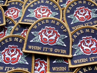 Wake me up when it's over traditional tattoo lettering embroidered patch rose merch design typography badgedesign branding illustrator illustration graphic design