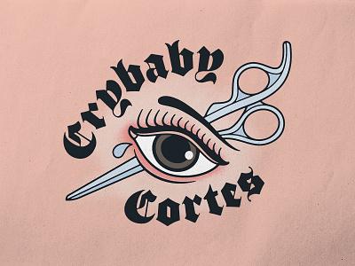 Crybaby Cortez hairdresser eye lettering brand identity traditional tattoo texture photoshop logo typography badgedesign branding vector illustrator illustration graphic design
