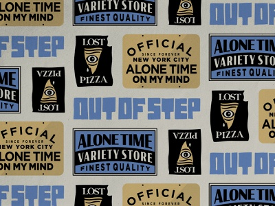 Alone Time Variety Store Details new york signage pattern out of step pizza alone time nyc brand identity lettering logo typography badgedesign branding illustrator illustration graphic design