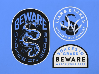 Beware Snakes in Grass badge snake sticker patch handlettering beware snakes illustrator traditional tattoo brand identity merch design logo typography badgedesign branding vector illustration graphic design