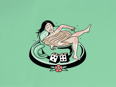 Coffee Lady green lady chill coffee flower dice tattoo woman traditional tattoo merch design logo badgedesign vector branding photoshop illustrator illustration graphic design