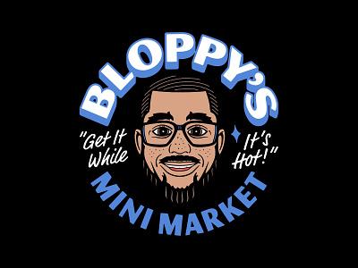 Bloppys Mini Market badge lockup character design bodega face portrait character brand identity merch design logo typography badgedesign vector branding illustrator illustration graphic design