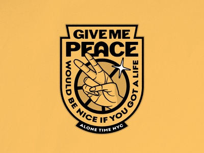 Give Me Peace badge sticker patch gold lockup nyc alone time hand peace lettering photoshop logo typography badgedesign branding illustrator illustration graphic design vector