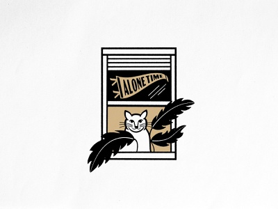 Alone Time Cat plant window alone time pennant cat brand identity merch design typography badgedesign vector branding illustrator illustration graphic design