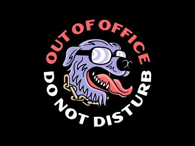Out of Office sunglasses beware chain vacation dog logo design typography vector badgedesign branding illustrator illustration graphic design