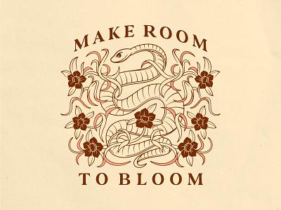 Make Room To Bloom symmetry tshirt design lettering bloom flowers snake logo design typography vector badgedesign branding illustrator illustration graphic design
