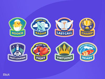 Riot Reward Badge Set flat tech achievement rookie champ icon rewards badge logo design typography vector badgedesign branding illustrator illustration graphic design