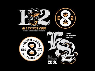 E82 badge hourglass snake merch identity logo design typography vector branding badgedesign illustrator illustration graphic design
