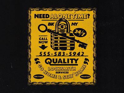 Need Alone Time? texture advertising lock alone time nyc sticker logo design typography vector branding badgedesign illustrator illustration graphic design
