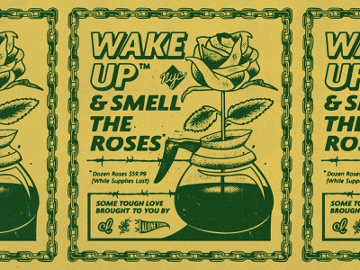 Wake Up & Smell The Roses alone time nyc chain coffee rose texture advertising logo design typography vector branding badgedesign illustrator illustration graphic design