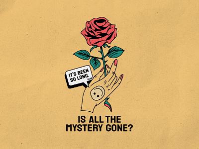 Mystery traditional tattoo merch turnstile traditional hand rose logo design typography branding badgedesign illustrator illustration graphic design