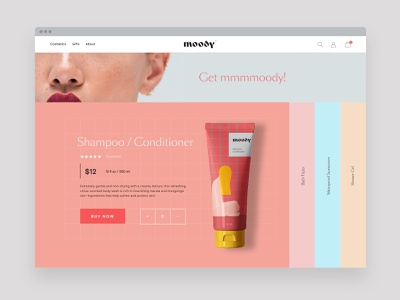 Moody cosmetics beauty ux ui brand identity branding