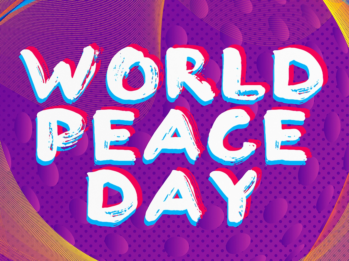 World Peace Day Poster halftone dots just for fun world peace day purple poster
