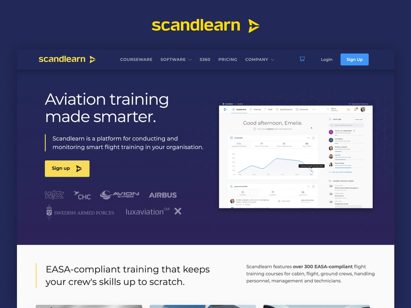 Scandlearn - Website courses learning learning management system aircraft planes aviation website blue website design scandlearn