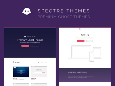 Spectre Themes clean purple landing page premium ghost themes