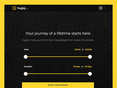 Hujjaj.co filters sliders search pilgrimage muslim islam hajj