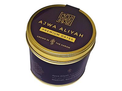 Ajwa Aliyah Packaging Design luxury gold branding tin dates physical product