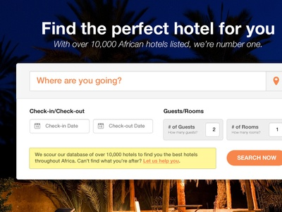 Search search hotel location check-in check-out guests rooms search now description orange button