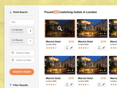 Search Listings (#2) search hotel location check-in check-out guests rooms search now description orange button