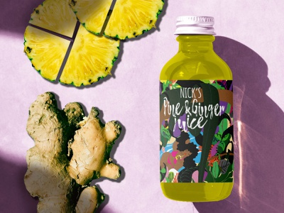 Pine and Ginger juice identity vector label design illustration graphic illustration branding