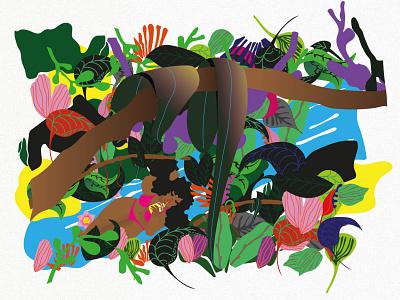 Caribbean jungle vector illustration graphic illustration