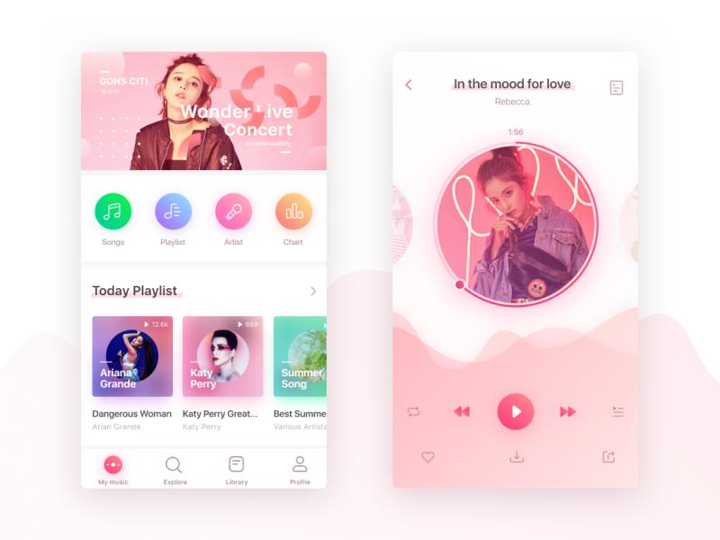 Music app concept for teens teen. media cute purple sketch figma mobile app player music