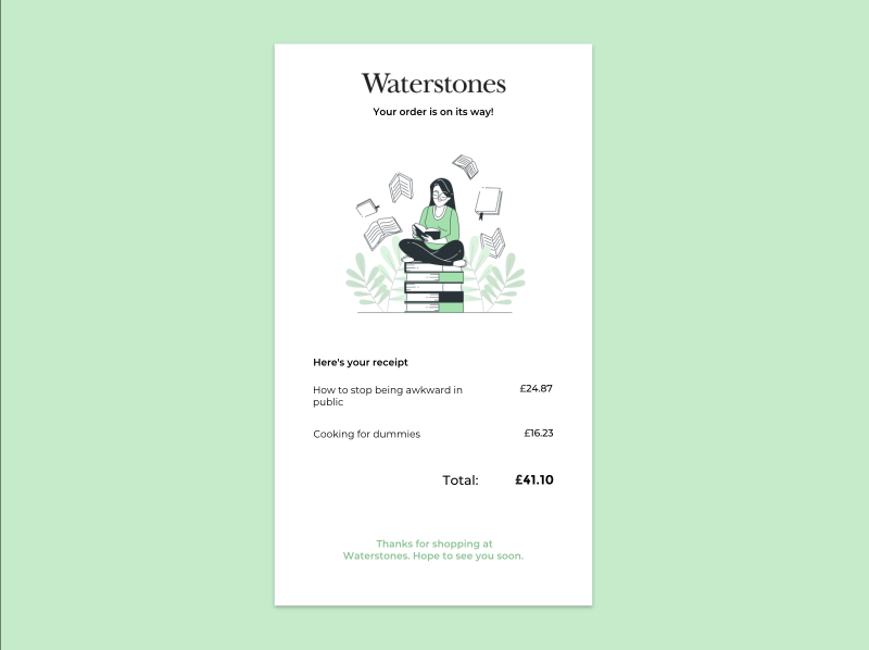 Email Receipt email design email uichallenge reading books bookstore uidesign