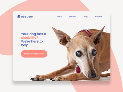 Disabilities blind disabled website dogcare dog figma uidesign