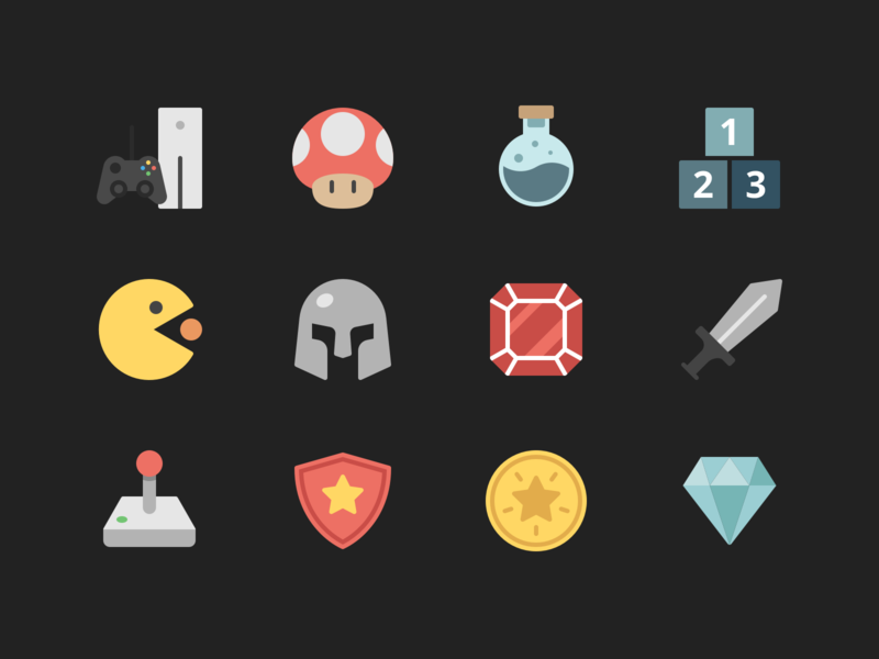 Gaming Icons mario pacman games gaming rodchenkod minimal illustration icons