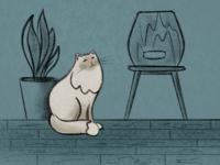 Cat In The Room pencil art animal illustration procreate illustration procreate cat design illustration