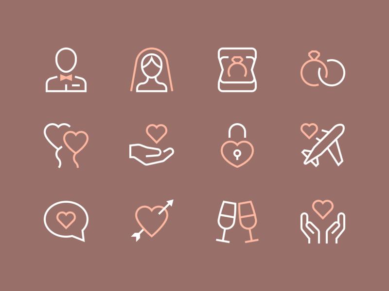 Romance Icons romance love stroke outline clean iconset minimal illustration icons