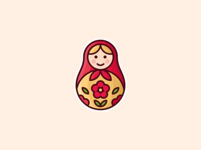 Matryoshka sticker mule illustration character wood icon matryoshka russian doll sticker