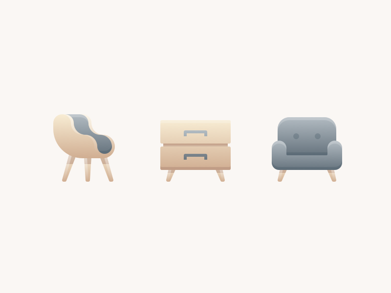 Furniture icon clean simple minimal furniture wood chair gradient illustration icons
