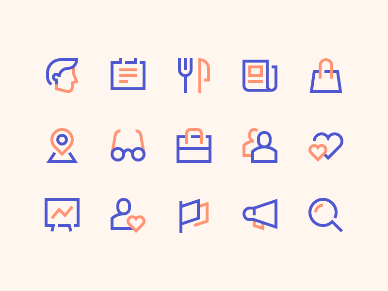 Zima Icons sketch clean news style geometric simple outline illustration magazine icons