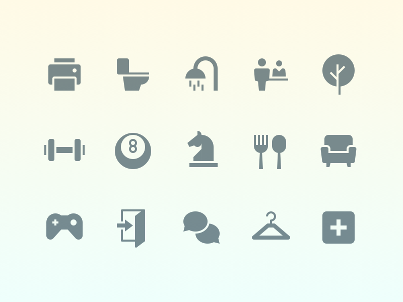 Office Navigation Icons outline simple gradient mini glyph navigation office icons