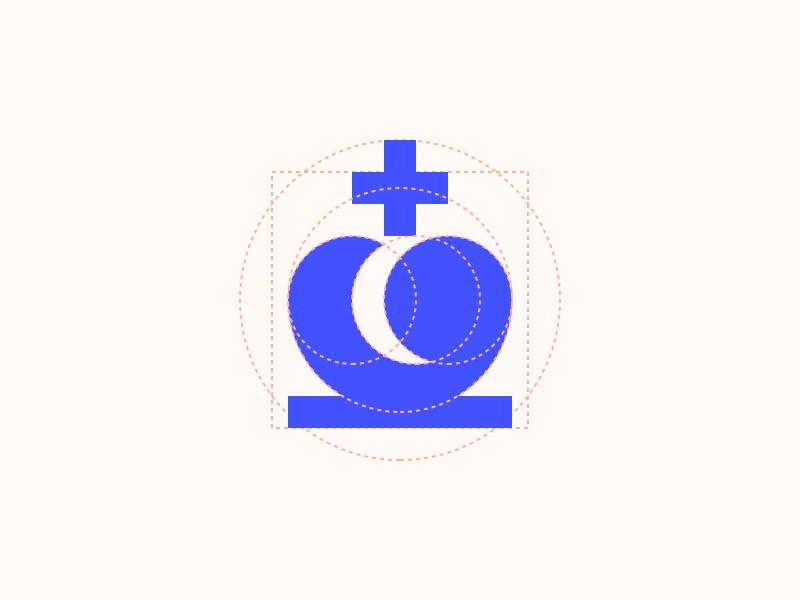 Geometric Chess King icon illustration mark logo grid geometry chess king minimal