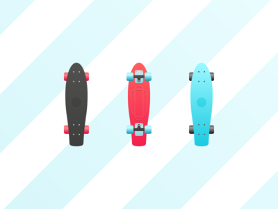 Penny Board minimal gradient summer penny board illustration icons