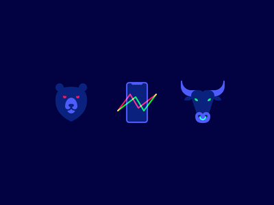 Crypto Icons flat trading minimal crypto bull bear illustration iconset icons