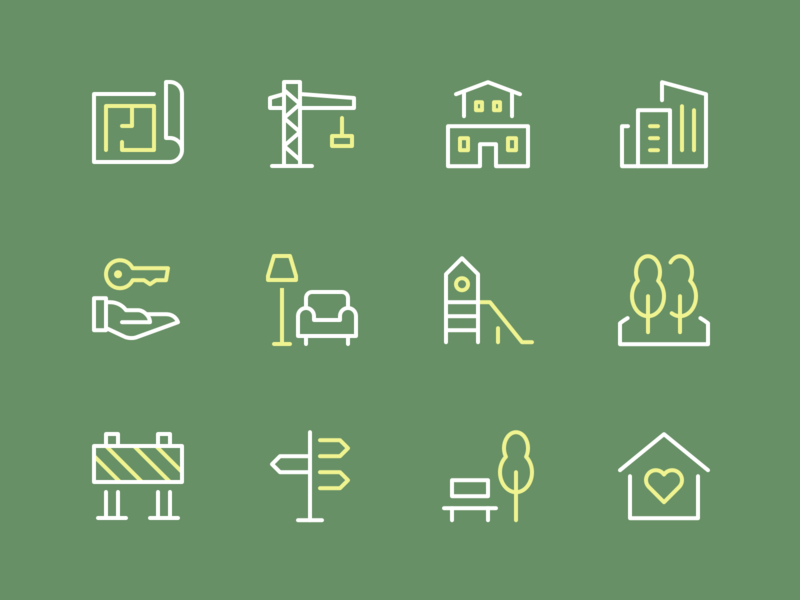 Building & Constructions Icons house building property realty nucleo stroke clean outline perfect minimal illustration icons