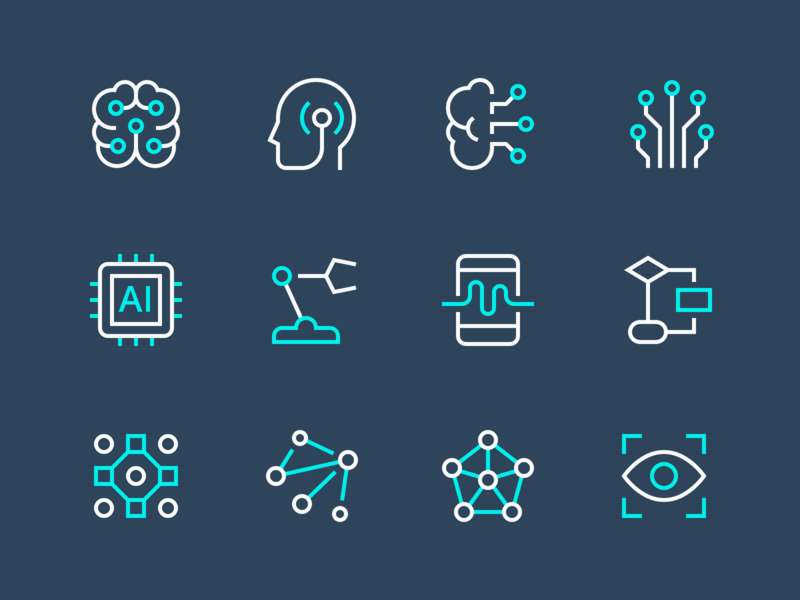 Artificial Intelligence Icons nucleo illustration outline perfect technology artificialintelligence iconset minimal icons