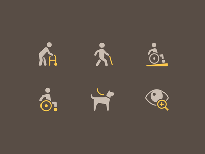 Accessibility Icons icon rodchenkod nucleo disability person disabled access accessibility illustration iconset perfect minimal icons