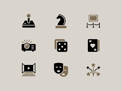 Entertainment Icons games entertainment glyph perfect clean rodchenkod iconset illustration minimal icons