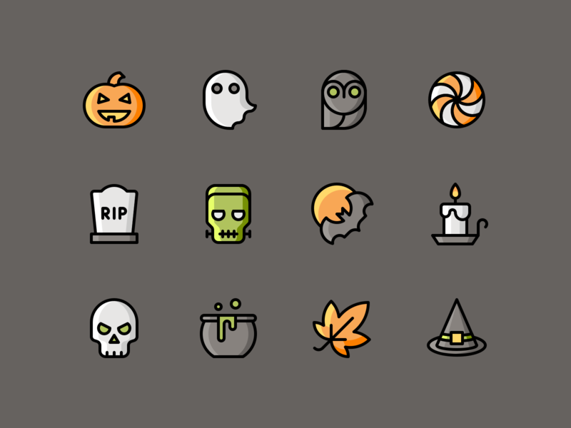 Halloween Illustrations download party ghost frankenstein pumpkin skull halloween iconset illustration icons