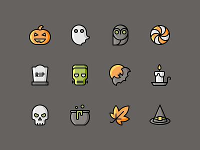 Halloween Illustrations download party ghost frankenstein pumpkin skull halloween iconset illustration icons