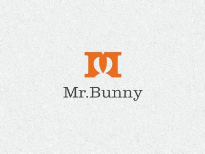 Mr Bunny m letter bunny rabbit animal negative space logo identity