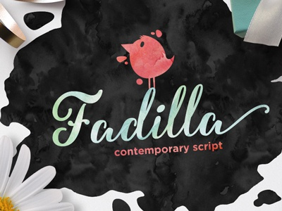 Fadilla calligraphy hand lettered hand drawing opentype alternative alternate watercolor brush pen lettering wedding invitation greeting card