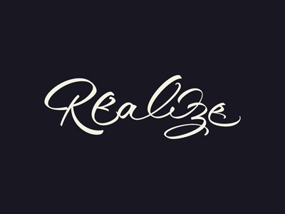 Realize lettering brush sign painting flowing dynamic logotype logo typo. typography